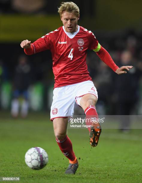Simon Kjaer of Denmark looks on during the International Friendly match between Denmark and Panama at Brondby Stadion on March 22 2018 in Brondby...