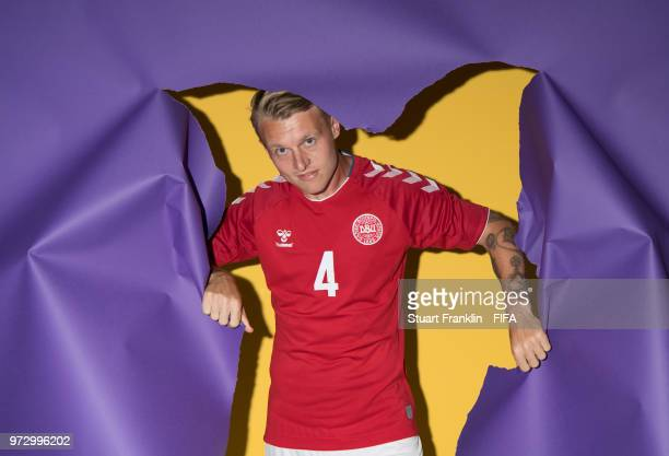 Simon Kjaer of Denmark poses for a picture during the official FIFA World Cup 2018 portrait session at on June 12, 2018 in Anapa, Russia.