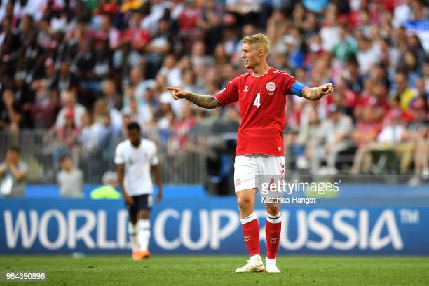 Simon Kjaer of Denmark reacts during the 2018 FIFA World Cup Russia group C match between Denmark and France at Luzhniki Stadium on June 26 2018 in...