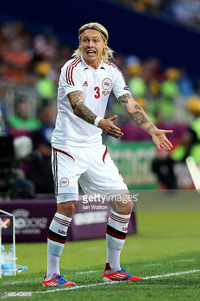 Simon Kjaer of Denmark reacts during the UEFA EURO 2012 group B match between Netherlands and Denmark at Metalist Stadium on June 9 2012 in Kharkov...
