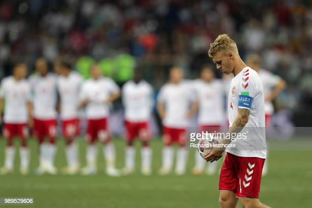 Simon Kjaer of Denmark walks up to take his penalty during the 2018 FIFA World Cup Russia Round of 16 match between Croatia and Denmark at Nizhny...