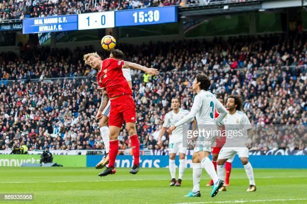 Simon Kjaer of Sevilla FC Achraf Hakimi of Real Madrid Lucas Vazquez Iglesias of Real Madrid Jesus Vallejo of Real Madrid Luis Muriel of Sevilla FC...