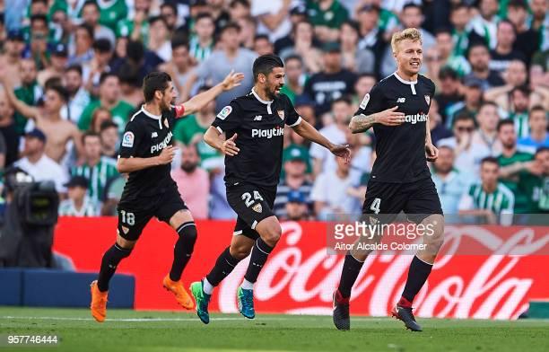 Simon Kjaer of Sevilla FC celebrates after scoring the second goal of Sevilla FC with his team mate Manuel Agudo 'Nolito' of Sevilla FC during the La...