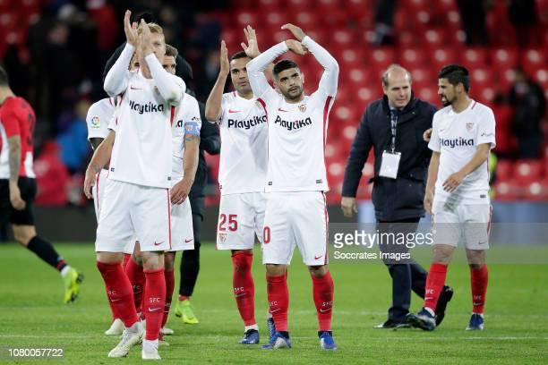 Simon Kjaer of Sevilla FC Gabriel Mercado of Sevilla FC Ever Banega of Sevilla FC celebrates the victory during the Spanish Copa del Rey match...