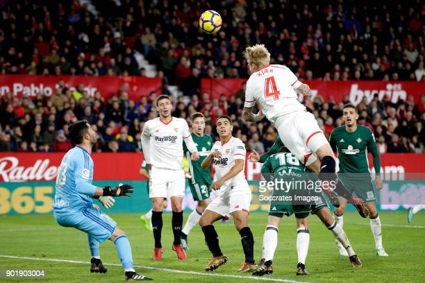 Simon Kjaer of Sevilla FC scores the fourth goal to make it 22 during the La Liga Santander match between Sevilla v Real Betis Sevilla at the Estadio...