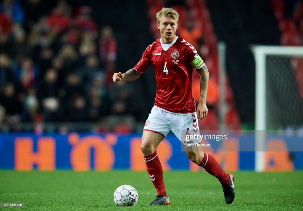 Simon Kjar of Denmark controls the ball during the FIFA 2018 World Cup Qualifier Play-Off First Leg match between Denmark and Republic of Ireland at Telia Parken Stadium on November 5, 2017 in Copenhagen, Denmark.