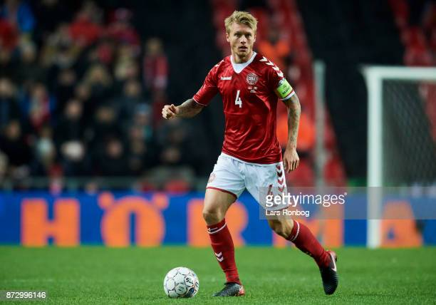 Simon Kjar of Denmark controls the ball during the FIFA 2018 World Cup Qualifier PlayOff First Leg match between Denmark and Republic of Ireland at...