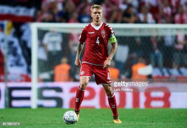 Simon Kjar of Denmark controls the ball during the FIFA World Cup 2018 qualifier match between Denmark and Poland at Telia Parken Stadium on...