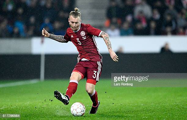 Simon Kjar of Denmark controls the ball during the international friendly match between Denmark and Iceland at MCH Arena on March 24 2016 in Herning...
