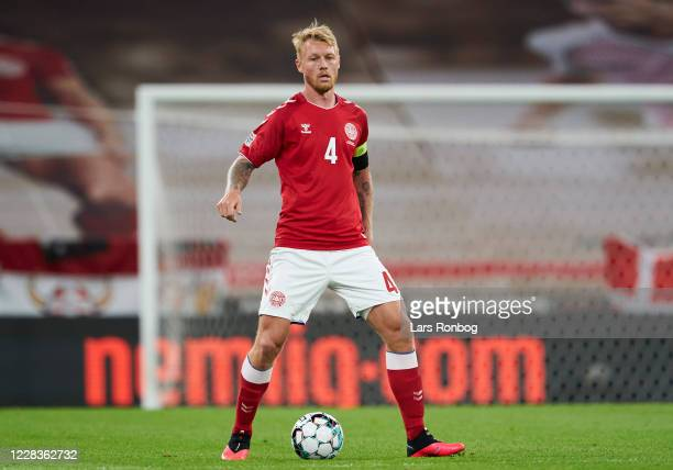 Simon Kjar of Denmark controls the ball during the UEFA Nations League match between Denmark and Belgium at Parken Stadium on September 5, 2020 in...