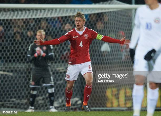 Simon Kjar of Denmark gestures during the International friendly match between Denmark and Chile at Aalborg Stadion on March 27 2018 in Aalborg...