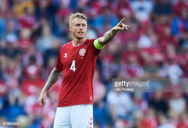 Simon Kjar of Denmark gestures during the international friendly match between Denmark and Mexico at Brondby Stadion on June 9 2018 in Brondby Denmark