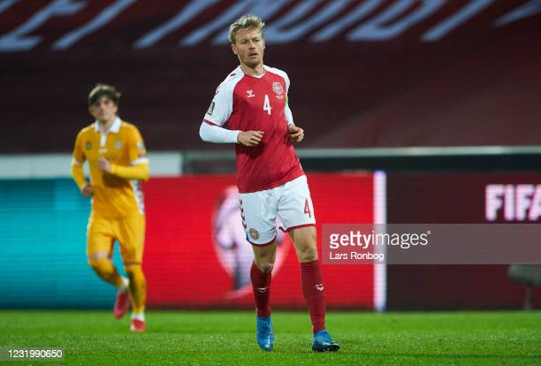 Simon Kjar of Denmark in action during the FIFA World Cup 2022 Qatar qualifying match between Denmark and Moldova at MCH Arena on March 28, 2021 in...