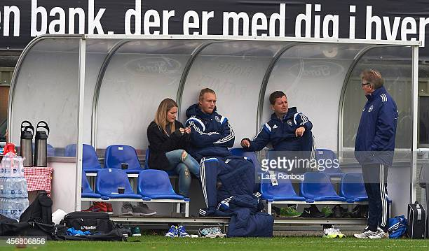 Simon Kjar of Denmark is injured and has special training during the Denmark training session and press conference ahead of their UEFA EURO 2016...