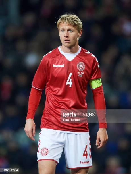 Simon Kjar of Denmark looks on during the International friendly match between Denmark and Panama at Brondby Stadion on March 22 2018 in Brondby...