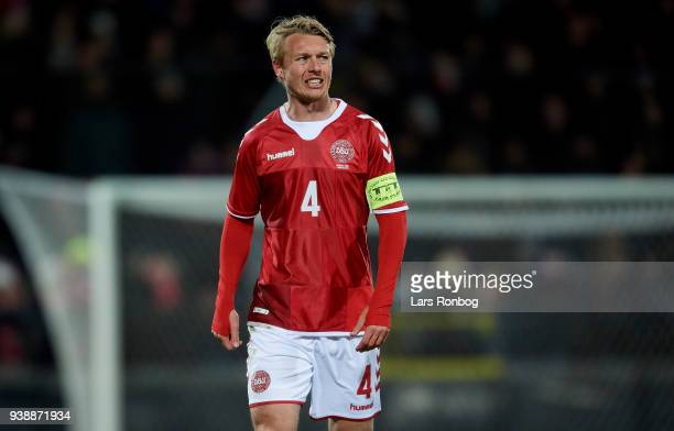 Simon Kjar of Denmark looks on during the International friendly match between Denmark and Chile at Aalborg Stadion on March 27 2018 in Aalborg...