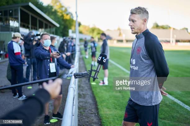 Simon Kjar of Denmark talking to the media during the Denmark Training Session at Helsingor Stadion on August 31, 2020 in Helsingor, Denmark.