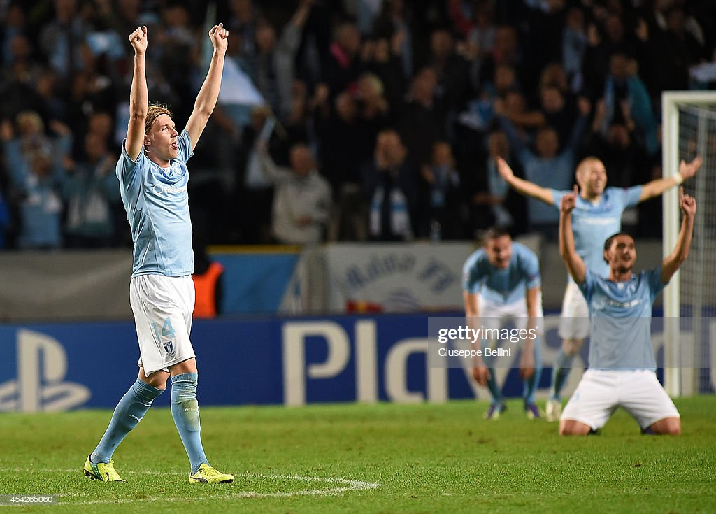 Simon Kroon of Malmo celebrates the victory after UEFA Champions League qualifying play-offs round second leg match between Malmo FF and Red Bull Salzburg on August 27, 2014 in Malmo, Sweden.