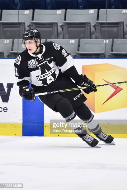 Simon Lavigne of the BlainvilleBoisbriand Armada skates during the warmup prior to the QMJHL game against the Valdu2019Or Foreurs at Centre...