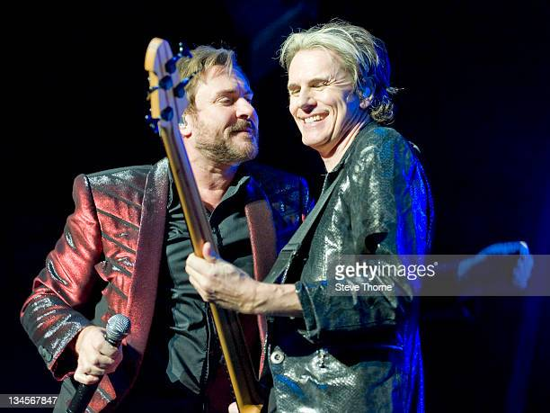 Simon Le Bon and John Taylor of Duran Duran perform on stage at LG Arena on December 2, 2011 in Birmingham, United Kingdom.