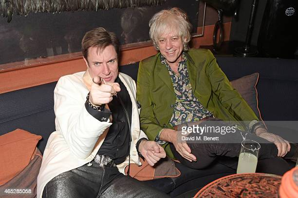 Simon Le Bon and Sir Bob Geldof attend Anthony Price's 70th birthday party hosted by Nick Rhodes at Blakes Hotel on March 5 2015 in London England