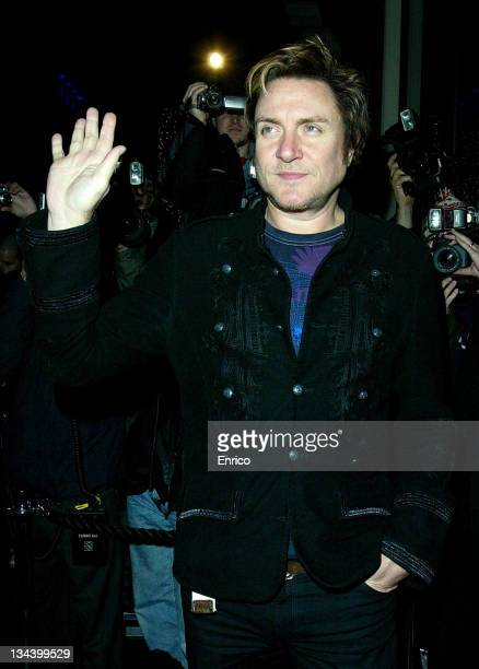Simon Le Bon arrives for the ING Renault F1 Team Wrap Party at the Mayfair Hotel on November 28 2007 in London England