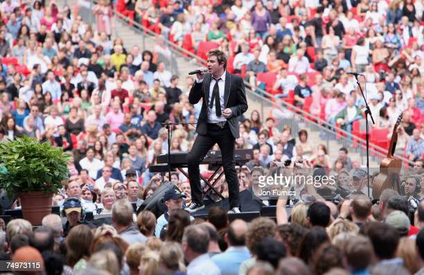 Simon Le Bon from Duran Duran on stage during The Concert For Diana held at Wembley Stadium on July 1 2007 in London The concert marked the 10th...