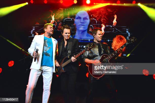 Simon Le Bon John Taylor and Dominic Brown from Duran Duran at the Fillmore Miami Beach on February 12 2019 in Miami Beach Florida