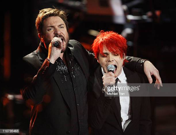 Simon Le Bon of Duran Duran and Gerard Way from My Chemical Romance perform at the Unstaged An Original Series from American Express concert held at...