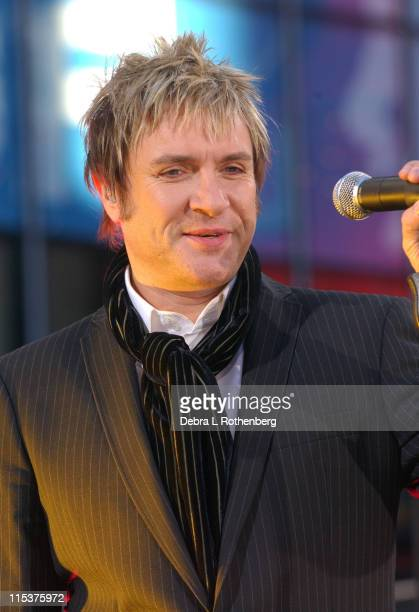 Simon Le Bon of Duran Duran during Duran Duran Performs Live on 'Good Morning America' October 12 2004 at Outside ABC Studios 44th Street and...