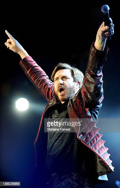 Simon Le Bon of Duran Duran performs at MEN Arena on December 16, 2011 in Manchester, England.