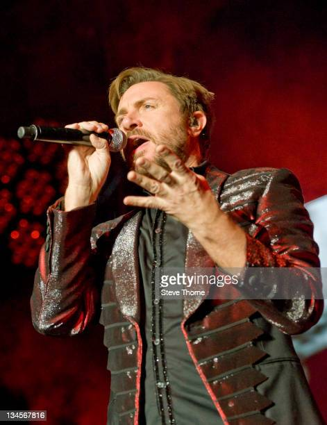 Simon Le Bon of Duran Duran performs on stage at LG Arena on December 2, 2011 in Birmingham, United Kingdom.