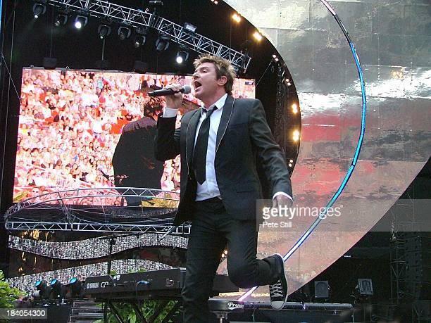 Simon Le Bon of Duran Duran performs on stage at The Concert For Diana in Wembley Stadium on July 1st 2007 in London England