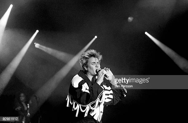 Simon Le Bon of Duran Duran performs on stage at the Valbyhallen on 13th April 1987 in Copenhagen Denmark