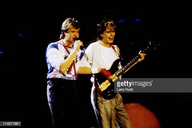 Simon LeBon and John Taylor performs with 'Duran Duran' at the Lawlor Event Center in Reno Nevada on February 4 1984