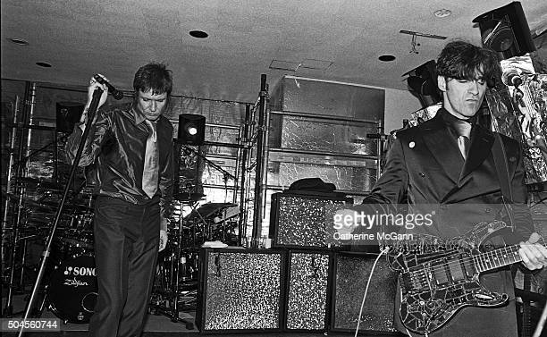 Simon LeBon and Warren Cuccurullo perform with Duran Duran at the opening reception of the exhibit 'The Warhol Look Glamour Style Fashion' at the...