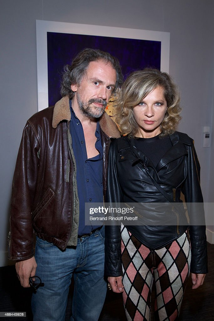 Simon Liberati and Eva Ionesco attend the 'Paintings Poems from Tahar Ben Jelloun - Furniture Scriptures from C.Saccomanno & O.Dayot' : Press Preview at Galerie du Passage on September 15, 2015 in Paris, France