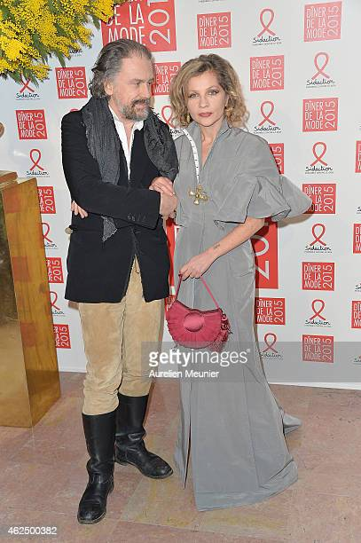 Simon Liberati and Eva Ionesco attends the Sidaction Gala Dinner 2015 at Pavillon d'Armenonville on January 29 2015 in Paris France