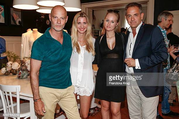 Simon Licht Theresa Krentzlin Tatjana Thinius and Florian Fitz attend the 'Lobby for a Weekend' Cocktail Prologne In Berlin on June 11 2015 in Berlin...