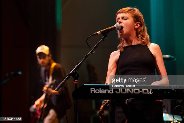 Simon Liddell and Carla J. Easton of Poster Paints perform on stage at Assembly Rooms on September 14, 2021 in Edinburgh, Scotland.
