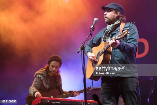 Simon Liddell and Scott Hutchison of Frightened Rabbit perform on stage during Sleep In The Park a Mass Sleepout organised by Scottish social...