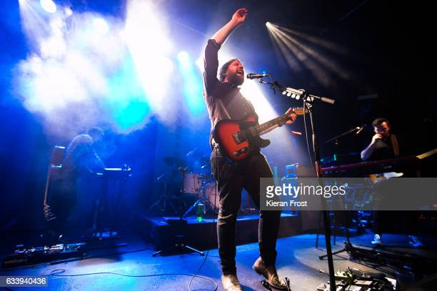 Simon Liddell, Scott Hutchison and Billy Kennedy of Frightened Rabbit perform at The Academy on February 5, 2017 in Dublin, Ireland.