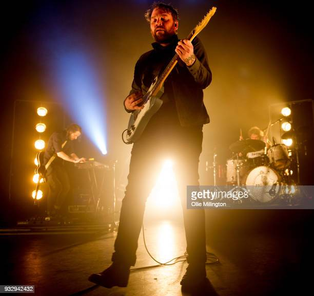 Simon Liddell Scott Hutchison and Grant Hutchison of Frightened Rabbit perform onstage at O2 Forum Kentish Town on March 16 2018 in London England