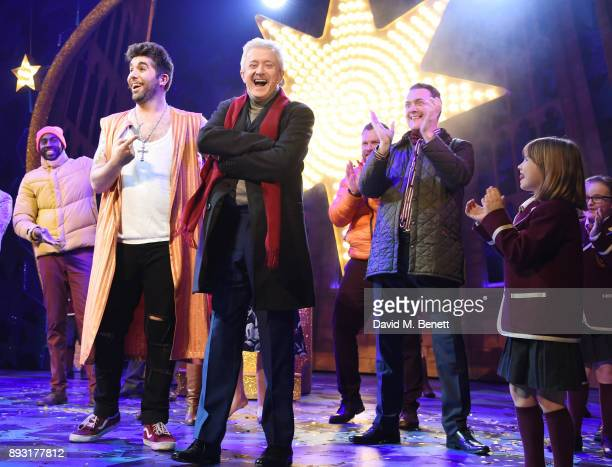 Simon Lipkin with Louis Walsh and Jamie Chapman at the curtain call for the world premiere press night performance of 'Nativity The Musical' at...