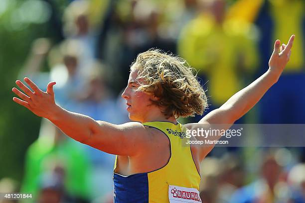 Simon Litzell of Sweden competes during the Men's Javelin Throw final at Ekangen Arena on July 18 2015 in Eskilstuna Sweden