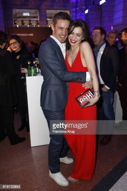 Simon Lohmeyer and Masha Sedgwick attend the Porsche at Blue Hour Party hosted by ARD during the 68th Berlinale International Film Festival Berlin at...