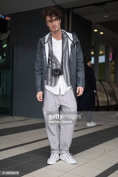Simon Lohmeyer model and photographer attends the Bennu show during Tokyo Fashion Weekon March 16 2016 in Tokyo Japan