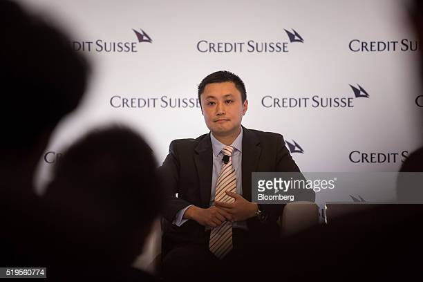 Simon Loong founder and chief executive officer of WeLab looks on during the Credit Suisse Asian Investment Conference in Hong Kong China on Thursday...