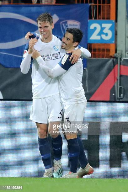 Simon Lorenz of Bochum celebrates the second goal with Danilo Soares of Bochum during the Second Bundesliga match between VfL Bochum 1848 and 1 FC...