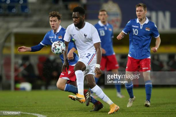 Simon Luechinger of Lichtenstein U21 and Odsonne Edouard of France U21 battle for the ball during the UEFA Euro Under 21 Qualifier match between...